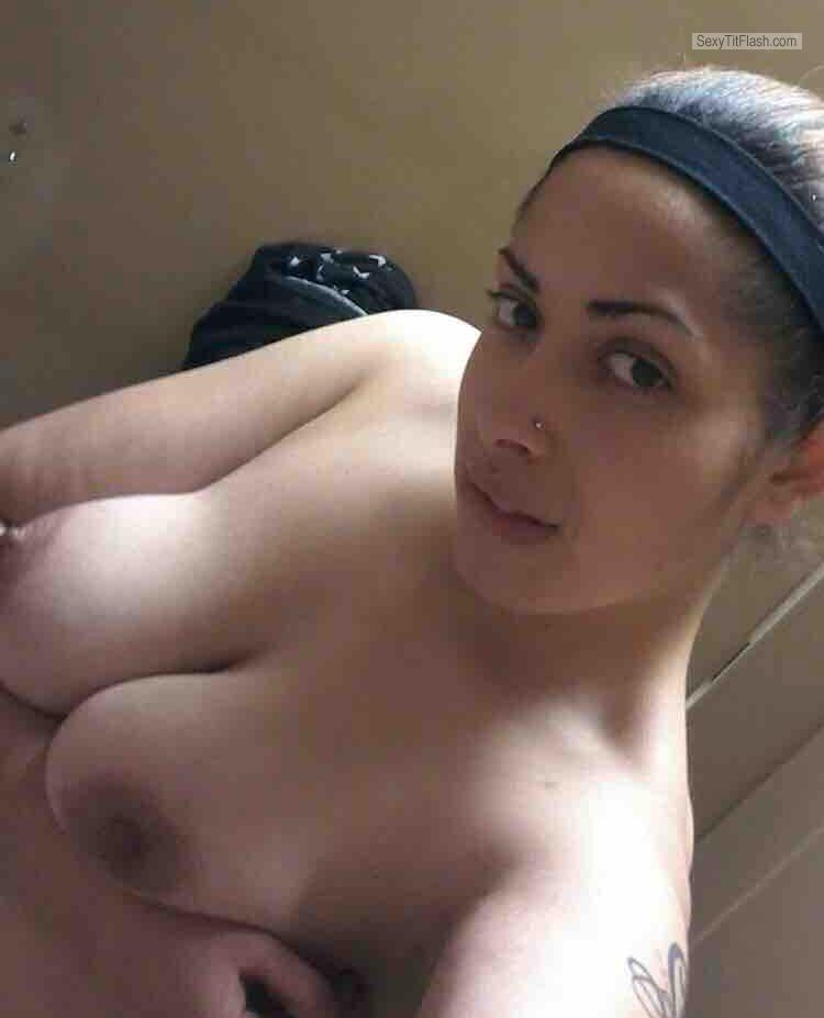 Tit Flash: My Medium Tits (Selfie) - Topless Horney from United States